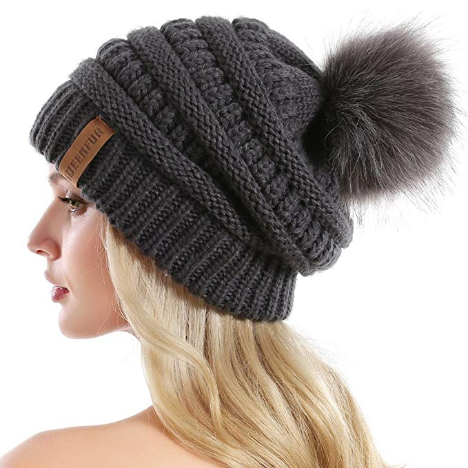 QUEENFUR Women Knit Slouchy Beanie Chunky Baggy Hat with Faux Fur Pompom