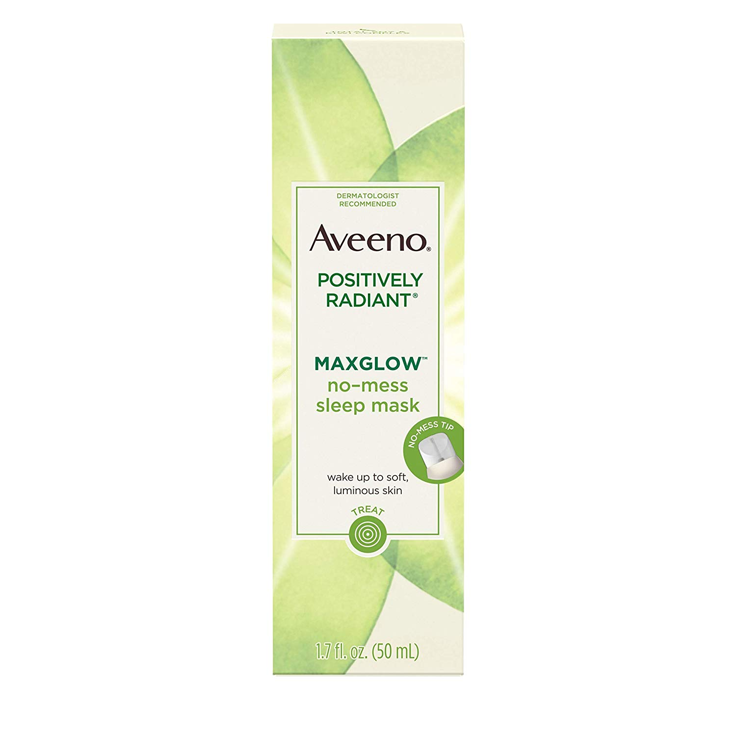 Aveeno Positively Radiant MaxGlow No-Mess Hydrating Sleep Mask with Moisture Rich Soy & Kiwi Complex