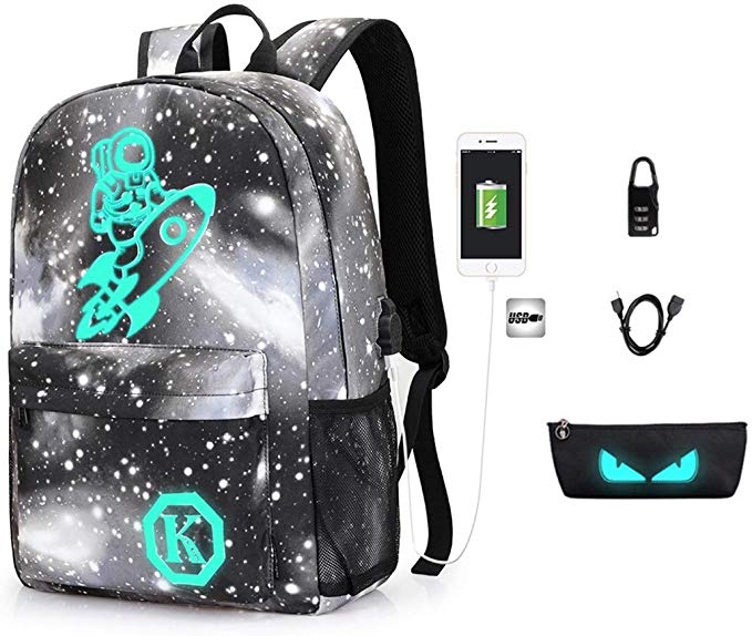 Anime Aniti-Theft Backpack Luminous School Bookbag Waterproof Laptop Backpack with USB Charging Port
