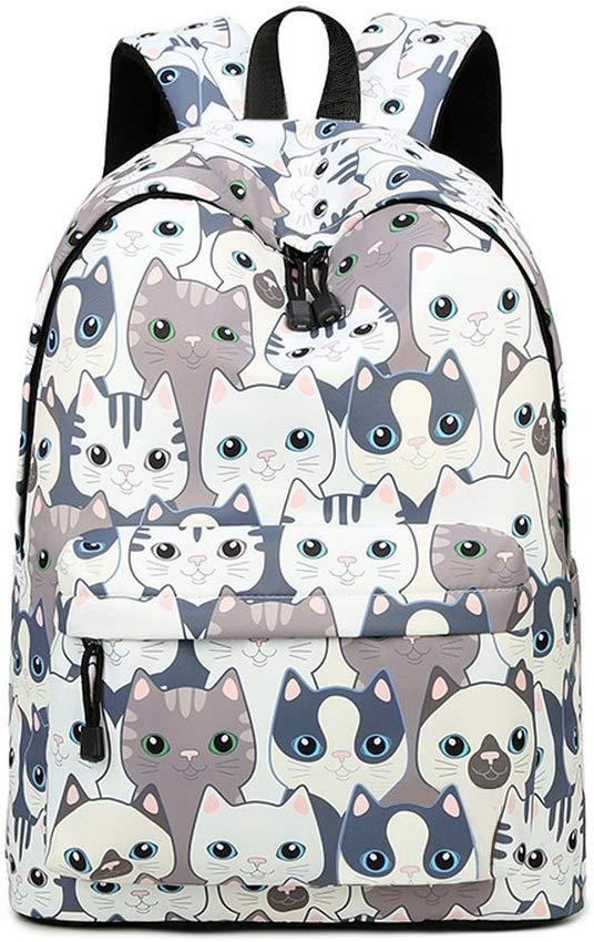 "Teecho Girls Waterproof School Backpack Fashion 15.6"" Laptop Backpack for Teenager Cat"