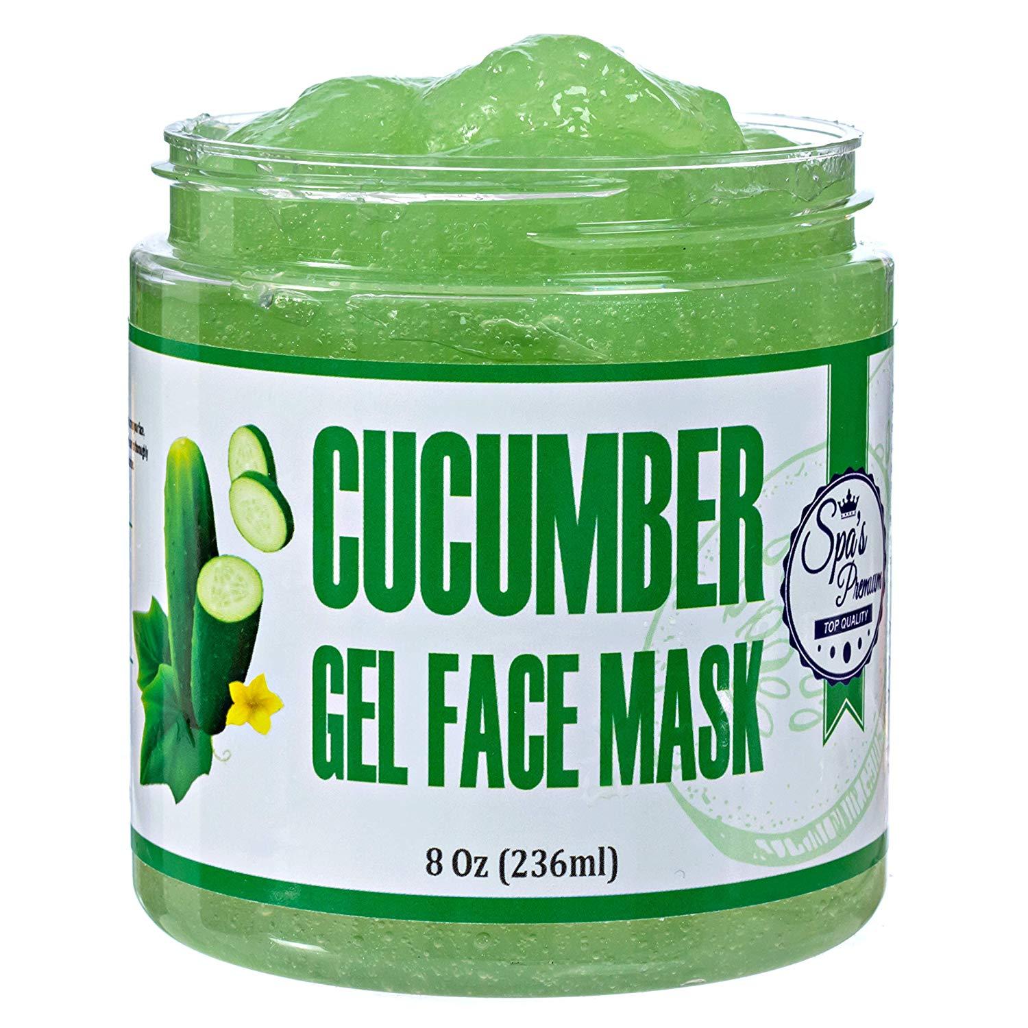 Spa's Premium Cucumber Gel Face Mask, Deep purifying hydrating cucumber mask, anti-inflammatory and soothing, Gel mask with antioxidants and vitamins.