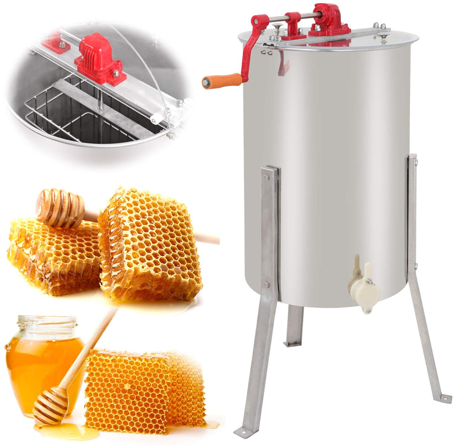 SUPER DEAL Pro 2 Frame Stainless Steel Honey Extractor