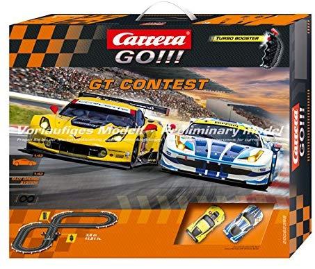 Carrera GO!!! GT Contest 1:43 Scale Electric Powered Slot Car Race Track Set - Corvette vs. Ferrari
