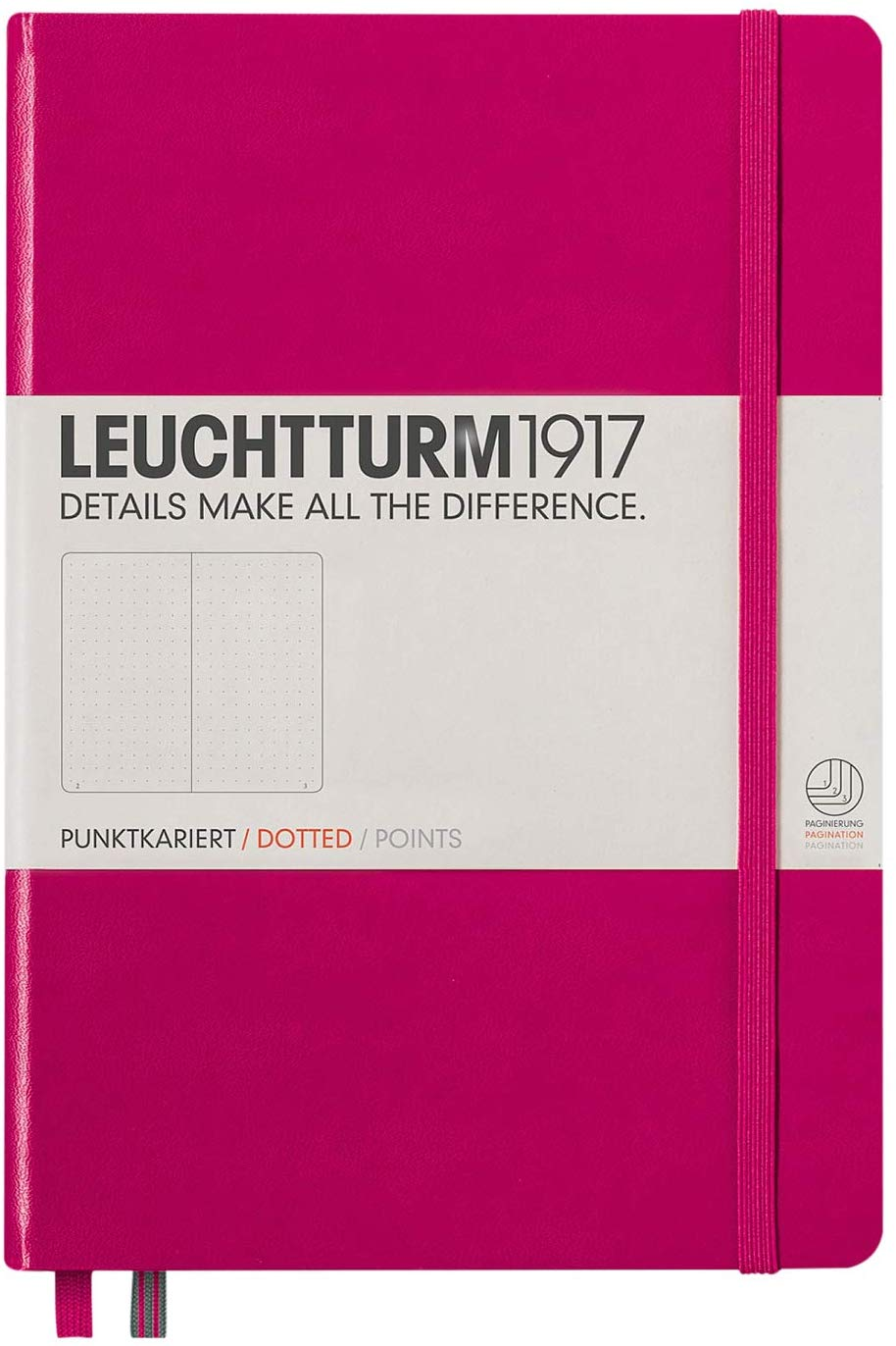 Leuchtturm1917 Medium A5 Dotted Hardcover Notebook (Berry) - 249 Numbered Pages.