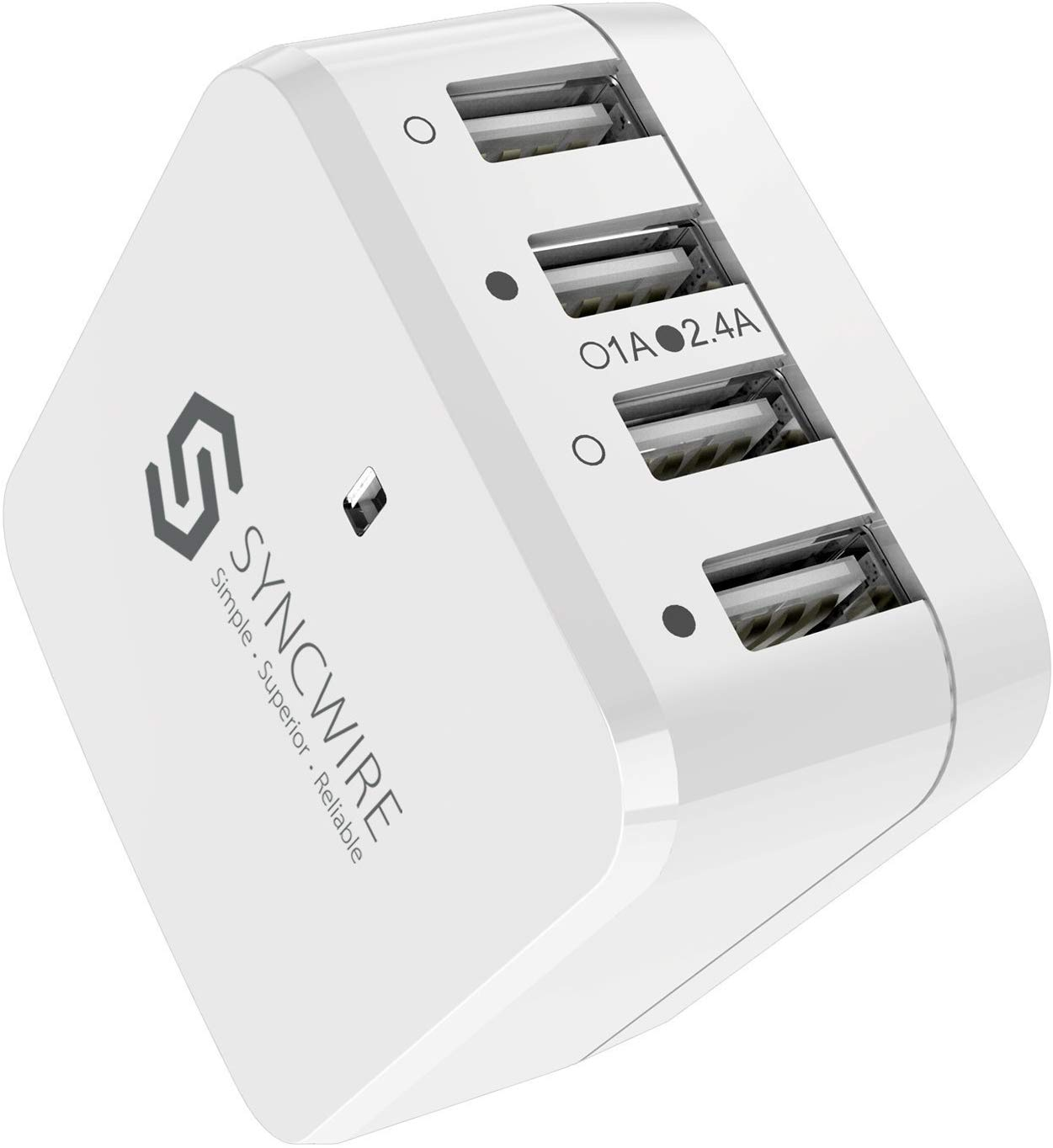 Syncwire USB Wall Charger Travel Plug - 34W/6.8A 4-Port Fast Charger