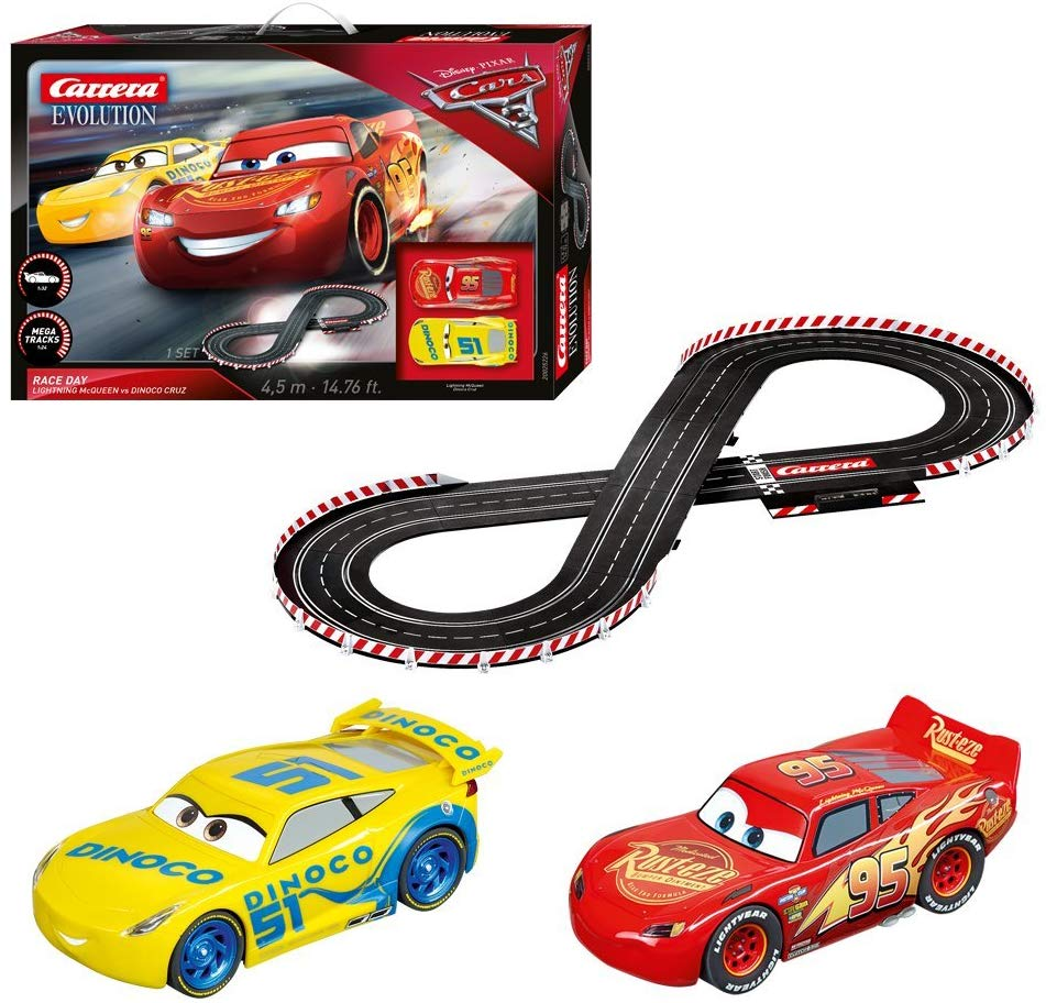 Carrera Evolution 20025226 Disney Pixar Cars Analog Electric 1:32 Scale Slot Car Racing Track Set.