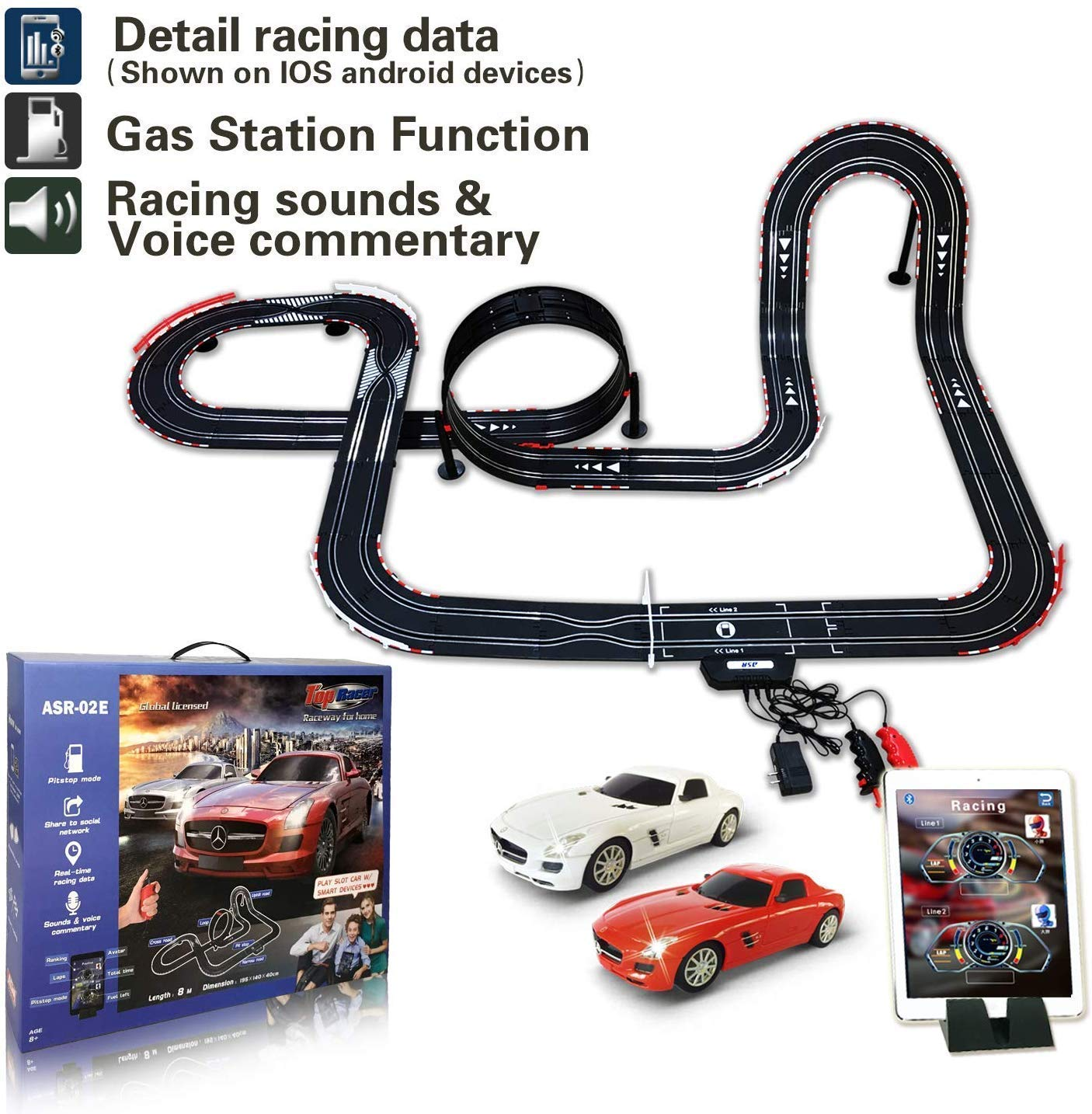 AGM Slot car Set with Racing Assistant APP No.ASR-02 1:43 Scale.