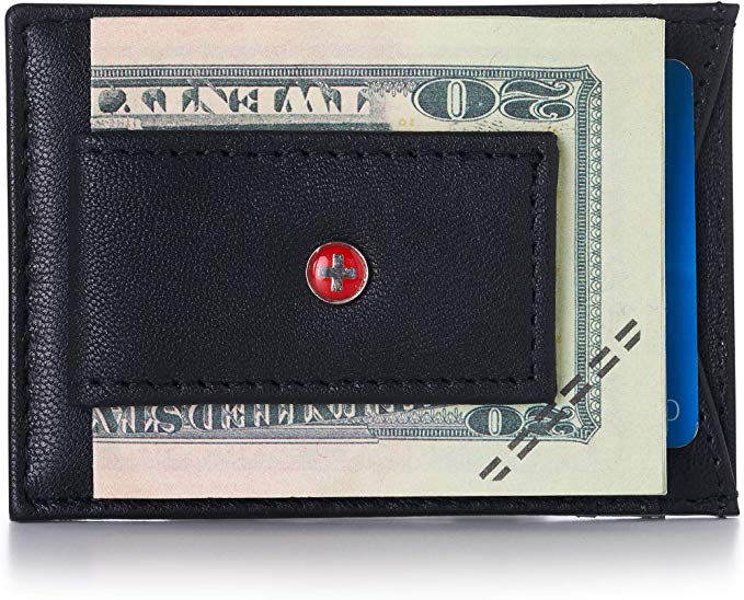 Alpine Swiss RFID Harper Money Clip Front Pocket Wallet For Men