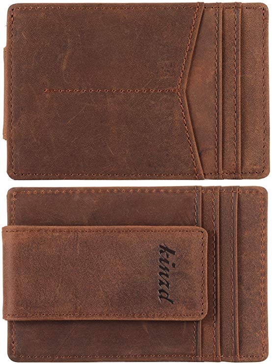 Money Clip, Front Pocket Wallet, Leather RFID Blocking Strong Magnet
