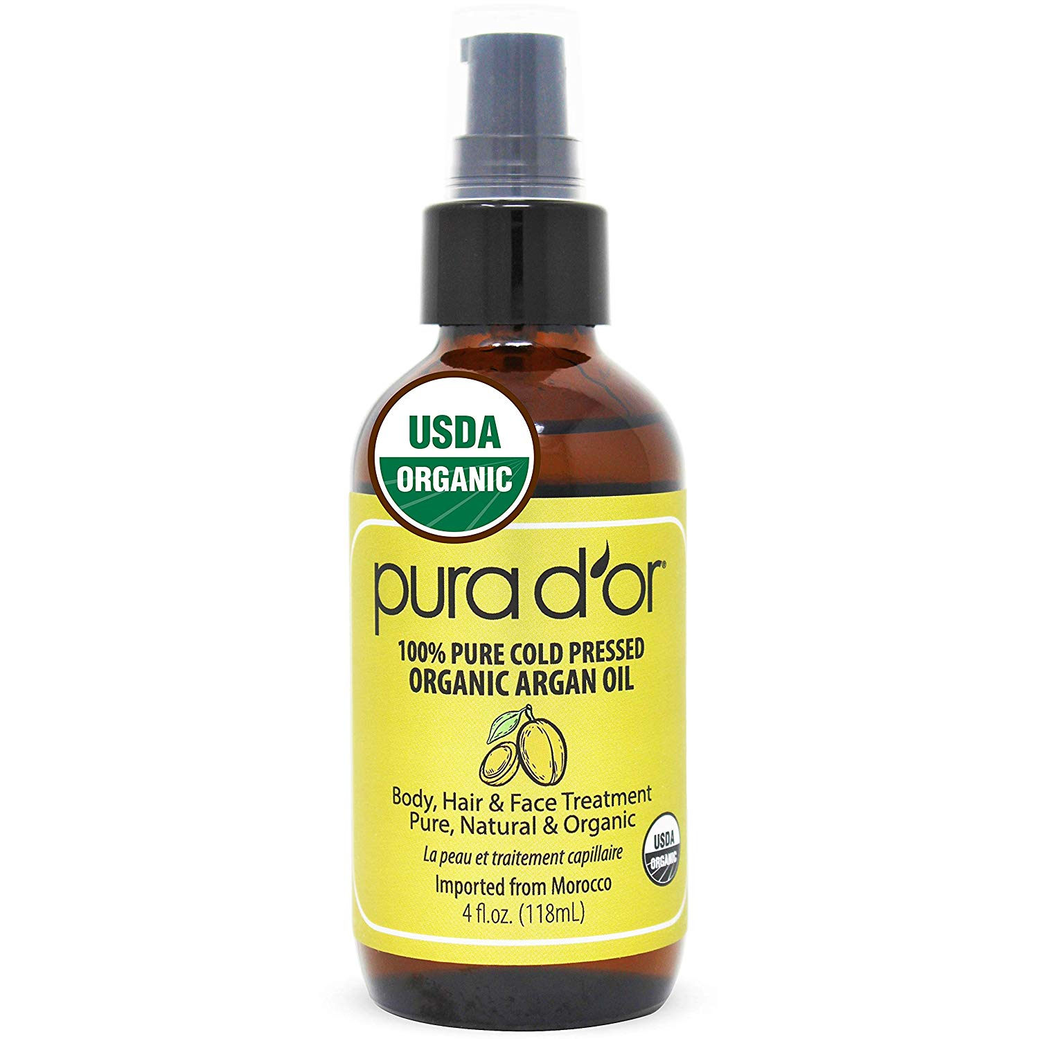 PURA D'OR Moroccan Argan Oil for Hair, Face, Skin, Scalp & Nails