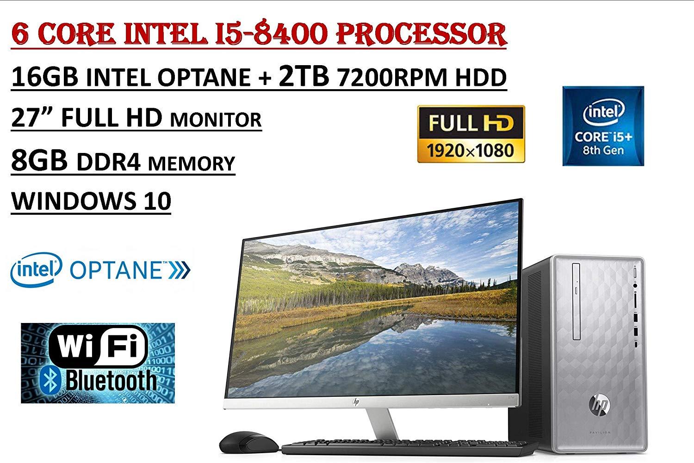 HP Pavilion Flagship High Performance Desktop PC Bundle, Intel Core i5-8400 6 Core Processor, 8GB DDR4+16GB Intel Optane