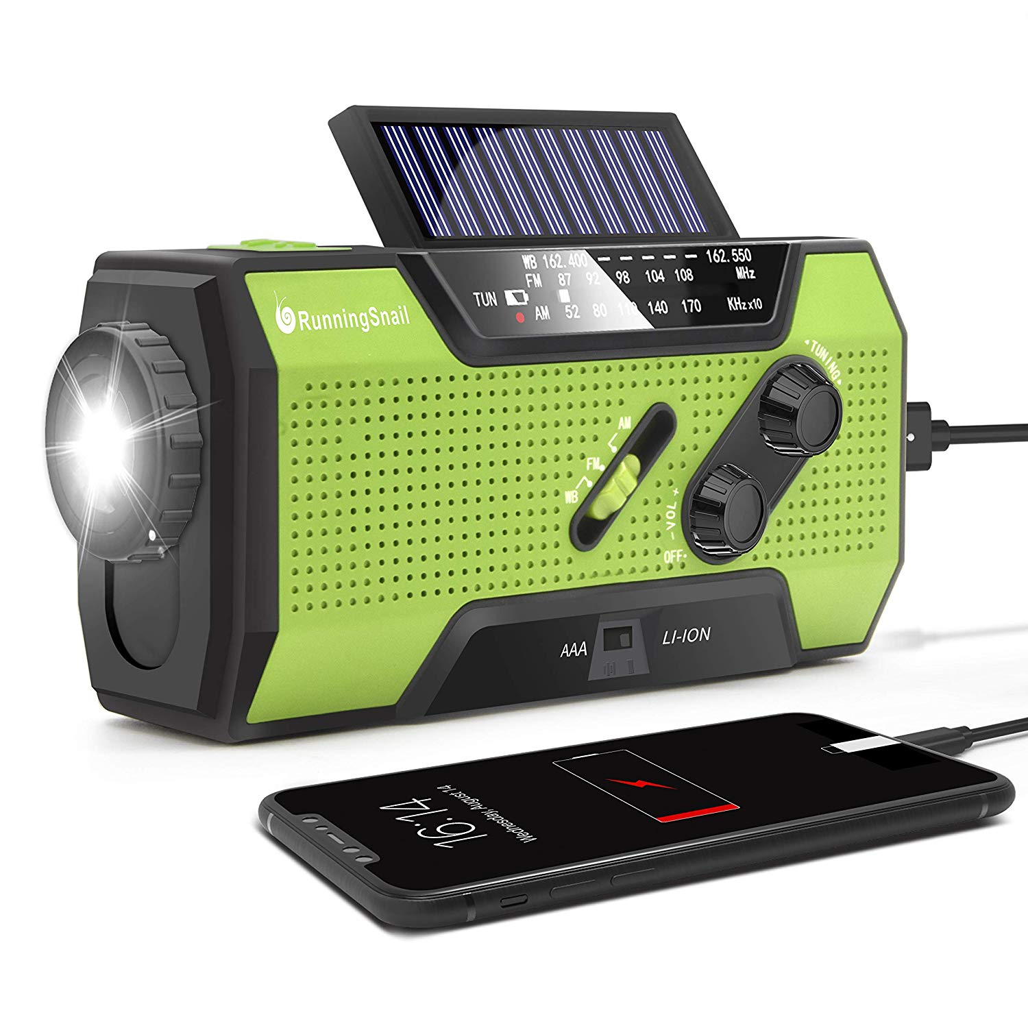 RunningSnail Solar Crank MD-090 NOAA Weather Radio for Emergency