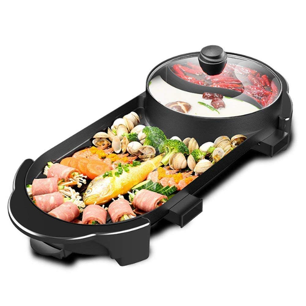 SEAAN Electric Grill Indoor Hot Pot, Indoor Teppanyaki Grill/Shabu, Multifunctional