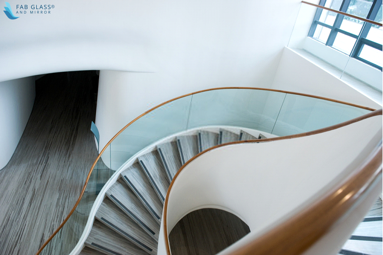 Helical glass railing stairs