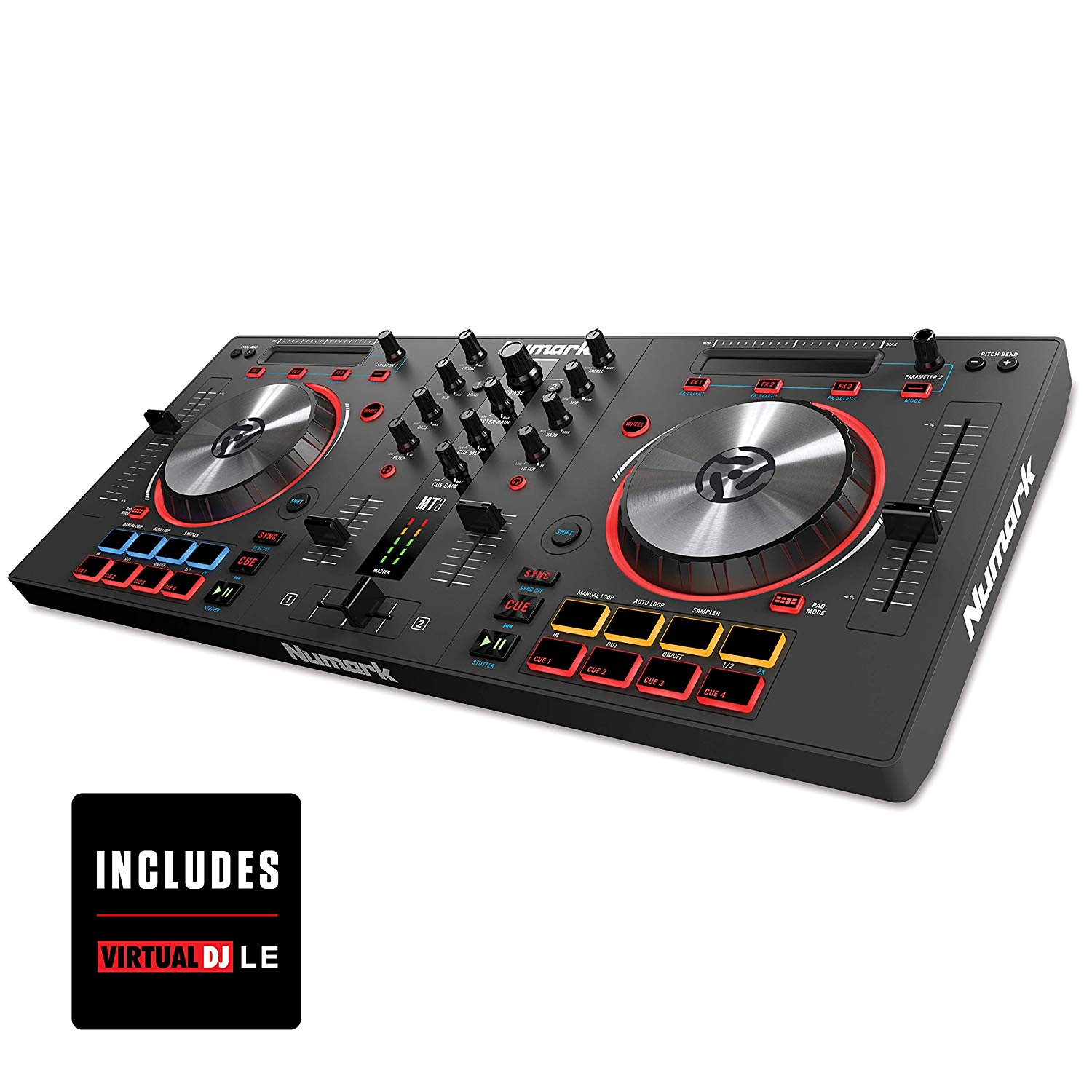 Numark Mixtrack 3   All-In-One 2-Deck DJ Controller for Serato DJ Including an Long-Throw Pitch Faders, 5-inch High Resolution Jog Wheels, and Virtual DJ LE & Prime Loops Remix Tool Kit